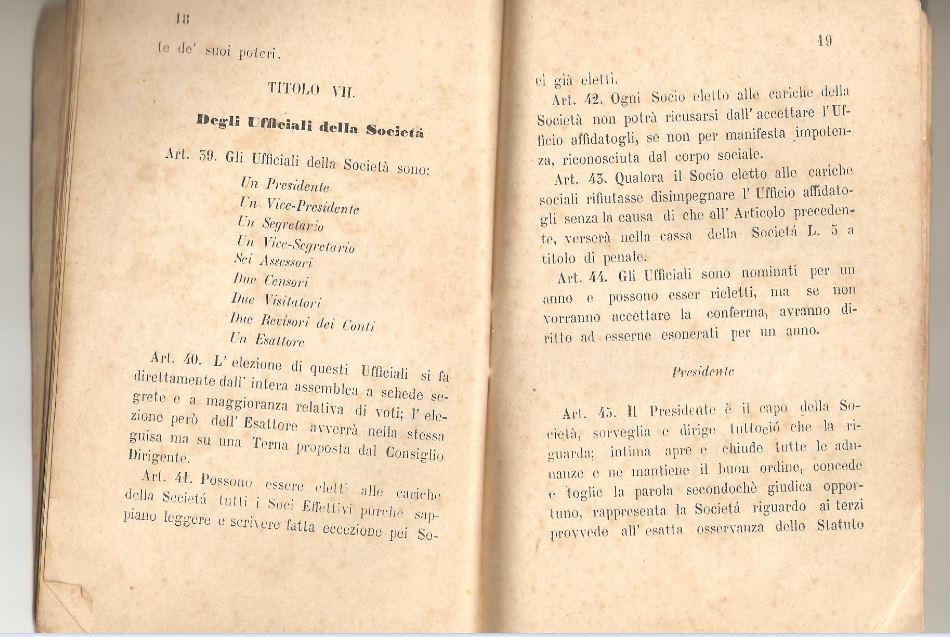 010. Statuto fondamentale della Società di Mutuo Soccorso fra gli operai di Chiusdino, 1895