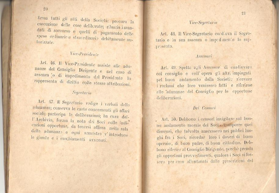 011. Statuto fondamentale della Società di Mutuo Soccorso fra gli operai di Chiusdino, 1895