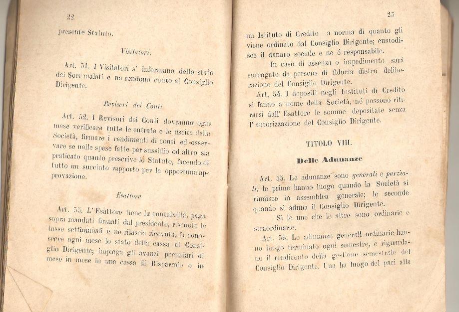 012. Statuto fondamentale della Società di Mutuo Soccorso fra gli operai di Chiusdino, 1895