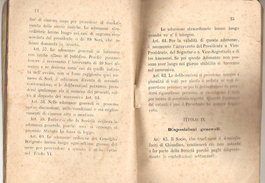 013. Statuto fondamentale della Società di Mutuo Soccorso fra gli operai di Chiusdino, 1895