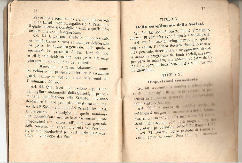 014. Statuto fondamentale della Società di Mutuo Soccorso fra gli operai di Chiusdino, 1895