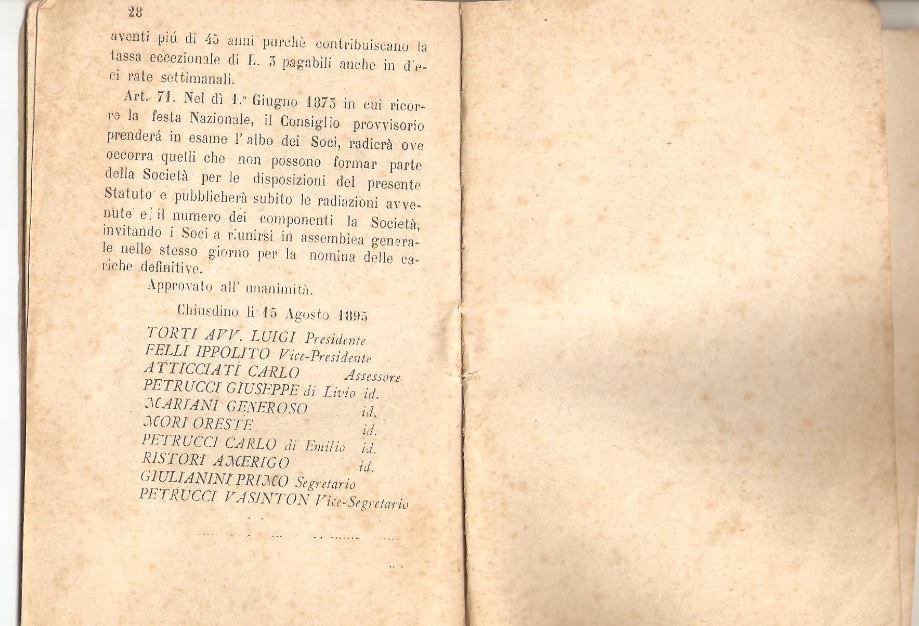 015. Statuto fondamentale della Società di Mutuo Soccorso fra gli operai di Chiusdino, 1895