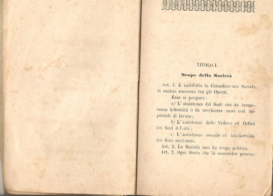 03. Statuto fondamentale della Società di Mutuo Soccorso fra gli operai di Chiusdino, 1895