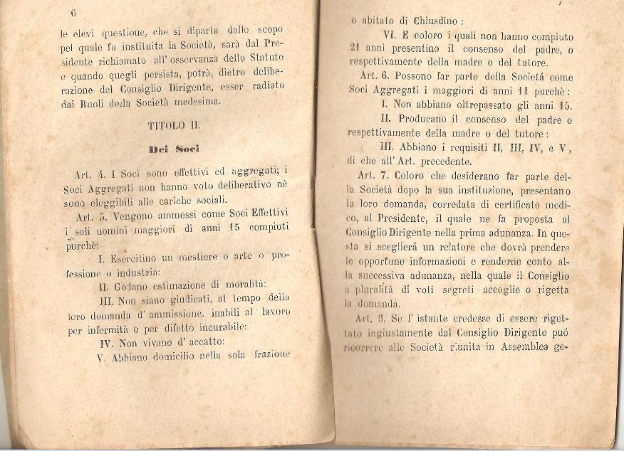 04. Statuto fondamentale della Società di Mutuo Soccorso fra gli operai di Chiusdino, 1895