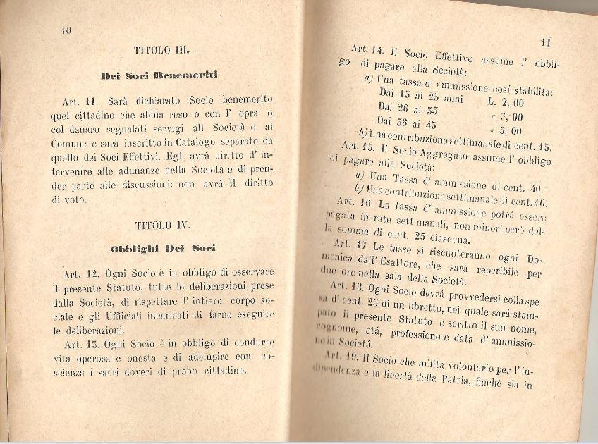 06. Statuto fondamentale della Società di Mutuo Soccorso fra gli operai di Chiusdino, 1895